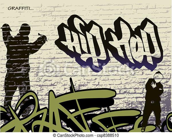Graffiti-Wand und Hip Hop Person - csp8388510