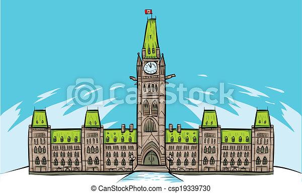 hügel, parlament, ottawa - csp19339730