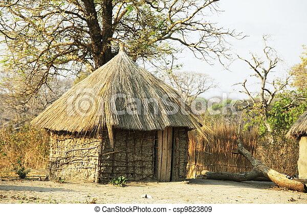 hütte, afrikanisch - csp9823809