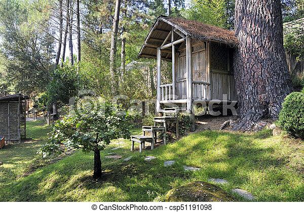 Hütte, Bambus, Arbeiten Garten Japaner   Csp51191098