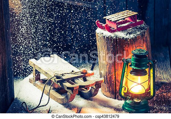 hütte, hygge, philosophie, winter, retro - csp43812479
