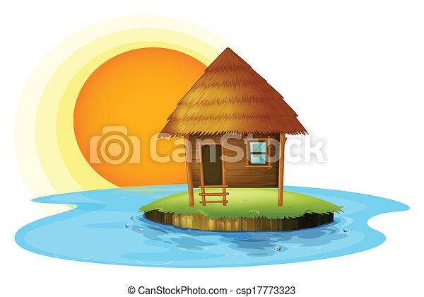 Eine Insel mit einer Nipa-Hütte - csp17773323