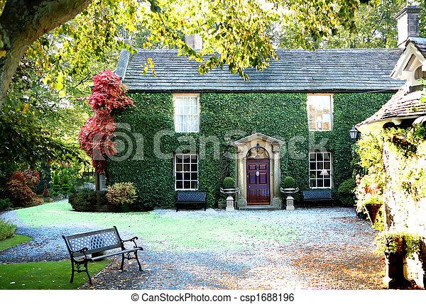 Englisches Cottage hütte land englisches land bild cottage englisches stockbild