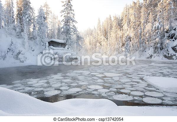 Hut bei Teich im Winterwald - csp13742054