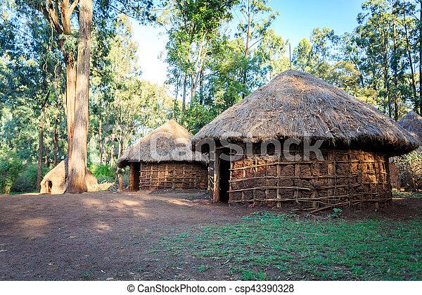 hütte, traditionelle , stammes-, kenianer, leute - csp43390328
