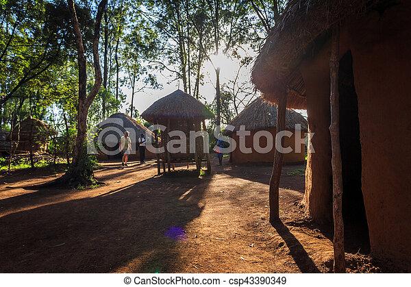 hütte, traditionelle , stammes-, kenianer, leute - csp43390349