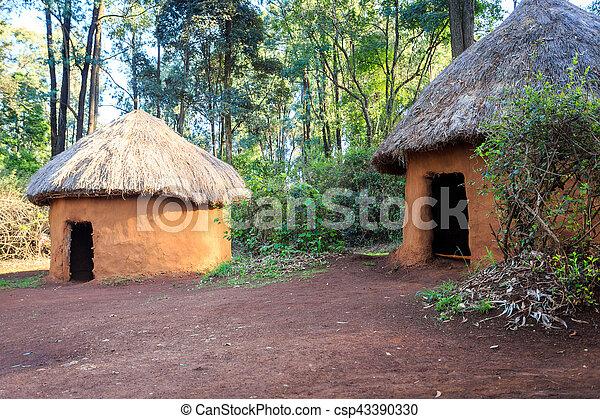 hütte, traditionelle , stammes-, kenianer, leute - csp43390330
