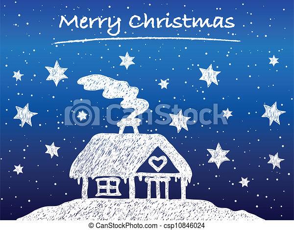 Hütte, weihnachten, schnee, nacht. -, schnee, abbildung, hand, nacht ...