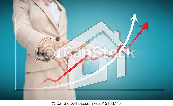 Mujer de negocios tocando H futurista - csp15158775