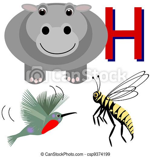 h hippo, humming bird, hornet. illustrations of animals that