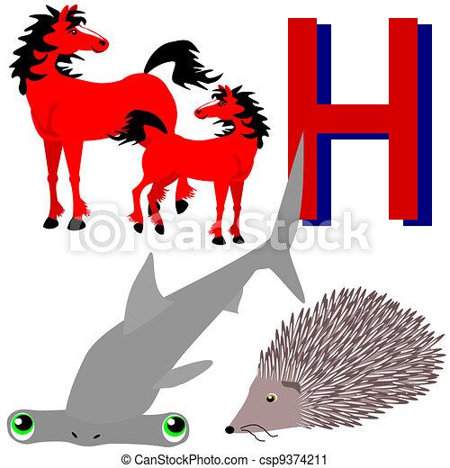 h horses, hammerhead, hedgehog. illustrations of animals vector