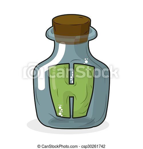 H in laboratory bottle. Letter in magic pot with a wooden stopper. Letter H to scientific experiments. Stock beaker, flask - csp30261742