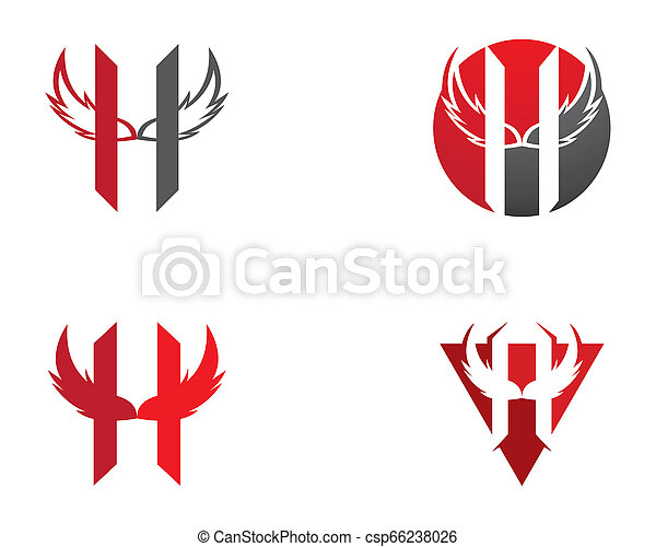 H letter wing logo vector icon illustration - csp66238026