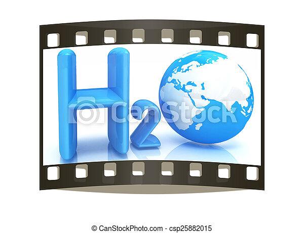 H2O. Formula of water. The film strip - csp25882015