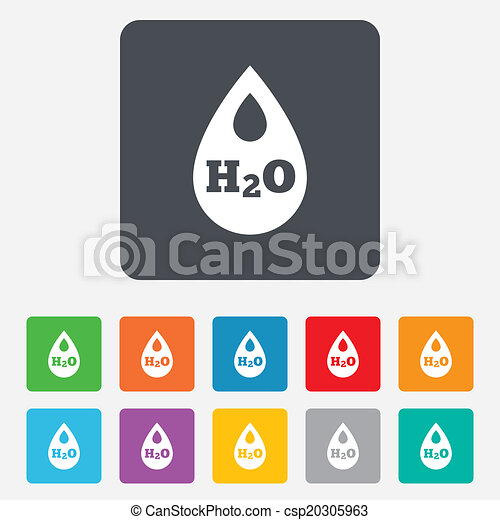 H2O Water drop sign icon. Tear symbol. - csp20305963
