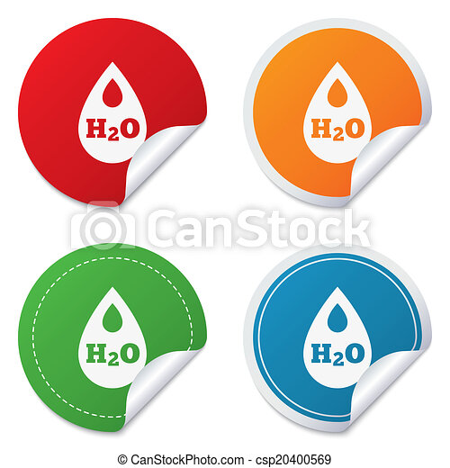 H2O Water drop sign icon. Tear symbol. - csp20400569