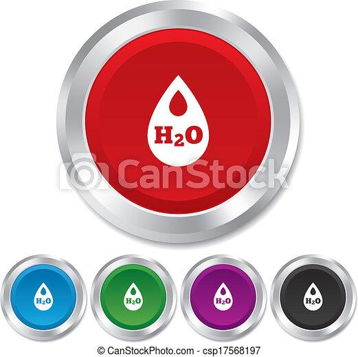 H2O Water drop sign icon. Tear symbol. - csp17568197