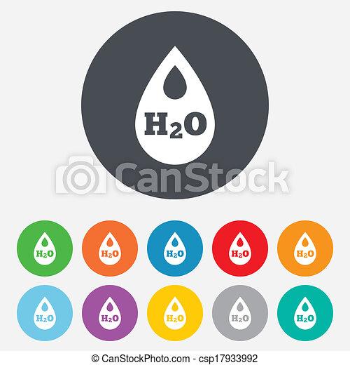 H2O Water drop sign icon. Tear symbol. - csp17933992