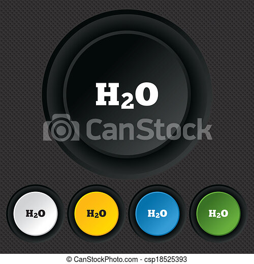 H2O Water formula sign icon. Chemistry symbol. - csp18525393