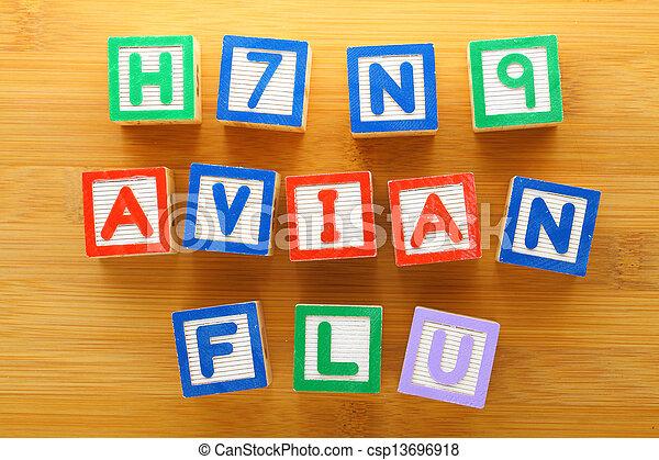 h7n9, jouet, grippe, oiseau, bloc - csp13696918
