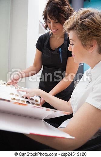 Haar Ausstellung Farbe Arten Friseur Kunde Friseur