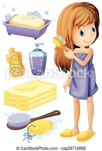 Vektor   Haar, Badezimmer, Frau, Satz, Kämmen