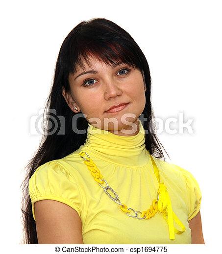 Eine Frau mit braunem Haar - csp1694775