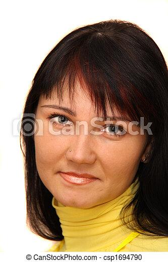 Eine Frau mit braunem Haar - csp1694790