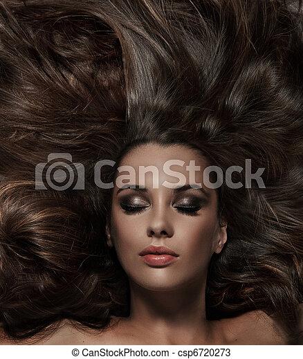 haar, brunette, beauty, lang - csp6720273
