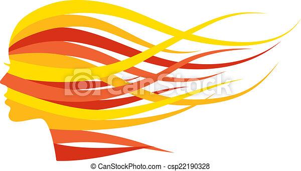 Frau mit langen Haaren - csp22190328