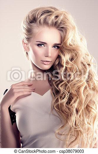 Haar Frisur Mode Locken Salon Langer Updo Wellen Modell Blond