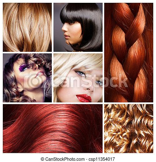 haar, hairstyles, collage. - csp11354017