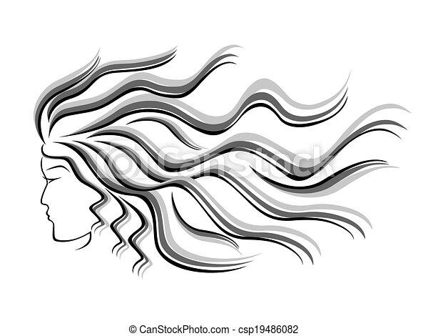 Weibliche Silhouette mit fließenden Haaren - csp19486082