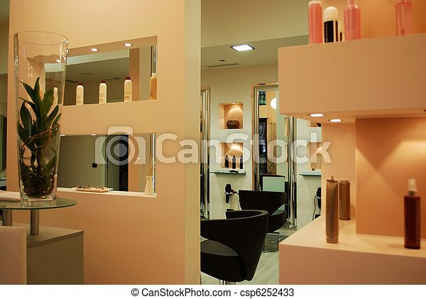 Haar salon. Inneneinrichtung, salon, modern, schoenheit, modisch.