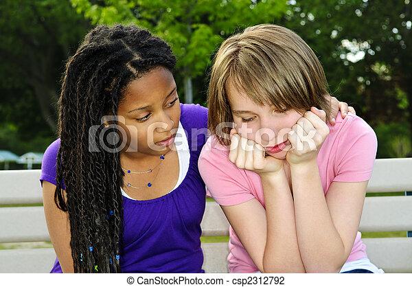 haar, tiener, vriend, het troosten - csp2312792