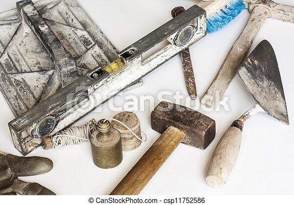 habarcs, cement, szerkesztés, kőművesség szerszám, fehér - csp11752586