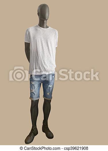 eeeddd43fdcee1 habillé, shorts., t-shirt, mannequin, blanc mâle