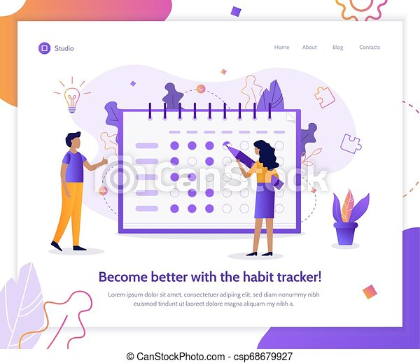 Habit Tracker Web Banner Become Better With The Habit Tracker Self Improvement Concept Flat Vector Illustration