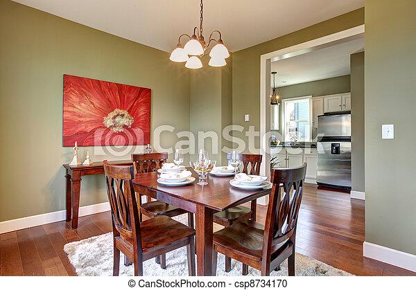 Habitación, cereza, floor., cenar, paredes, verde. Hermoso ...