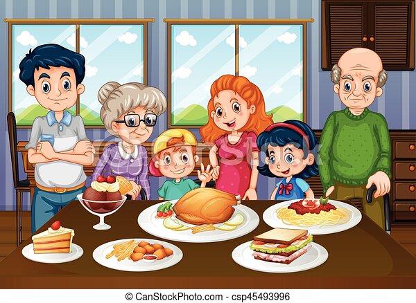 Familia comiendo juntos en el comedor - csp45493996