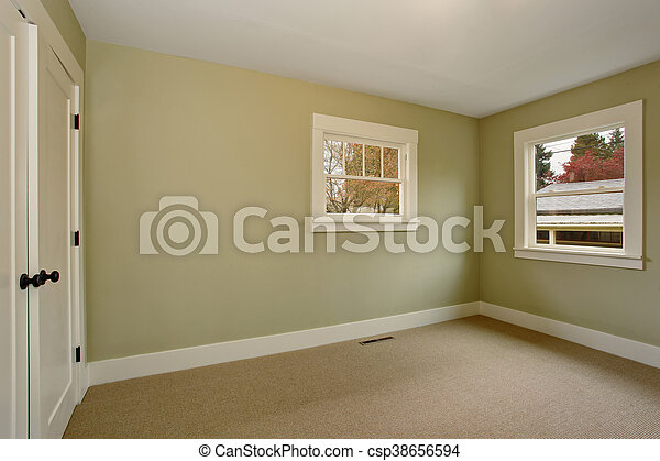 Interior vacío con paredes verdes y suelo de alfombra. - csp38656594