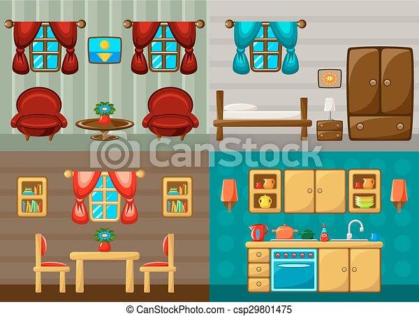 Habitaci n habitaci n kitchen cuatro cenar vector for Habitacion dibujo