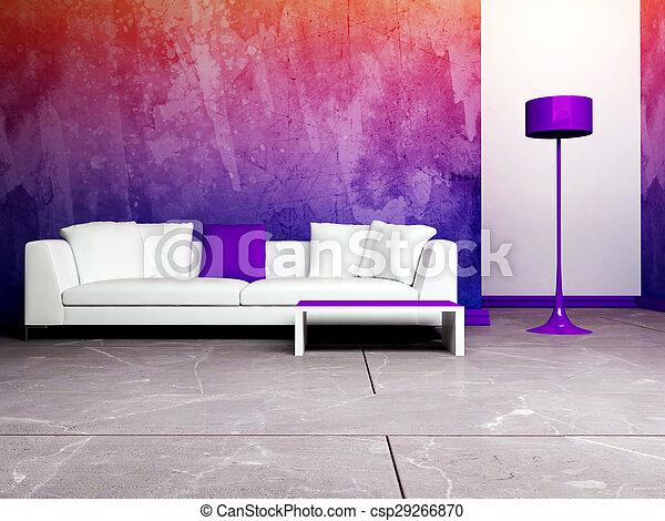Diseño interior moderno de sala de estar - csp29266870