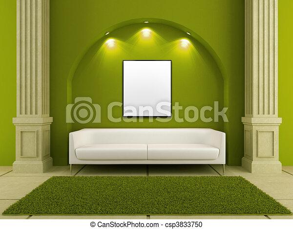 Interiores 3d - sofá blanco en cuarto rojo - csp3833750