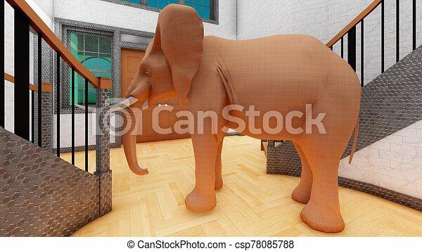 habitación, interpretación, 3d, vida, elefante - csp78085788