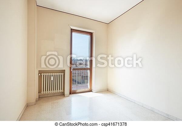Habitación vacía con suelo de mármol, día soleado - csp41671378