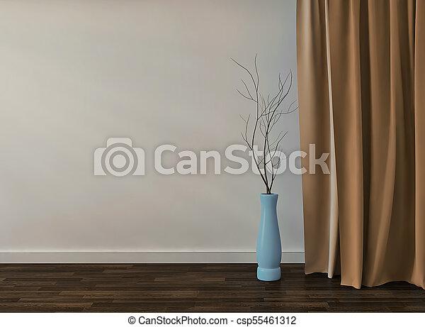 El interior de la habitación amarilla vacía con jarrón de cristal. 3D - csp55461312