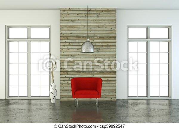 Diseño de interiores sala brillante con sillón rojo - csp59092547