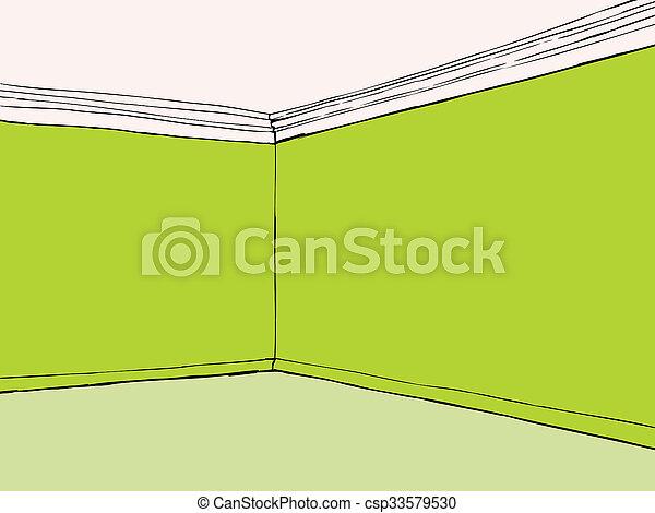 Habitación verde vacía - csp33579530