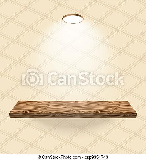Una antigua habitación empapelada con estantes de madera - csp9351743